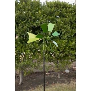 Green Metal Windmill Garden Stake