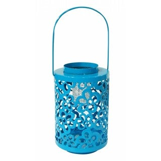 Blue Metal Lantern with Solar Light