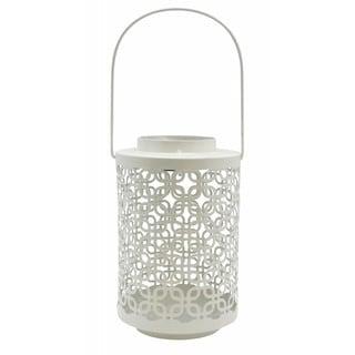 White Metal Solar Light Lantern