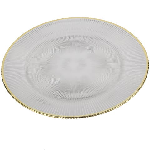 Gold Rim Glass 13-inch Plate