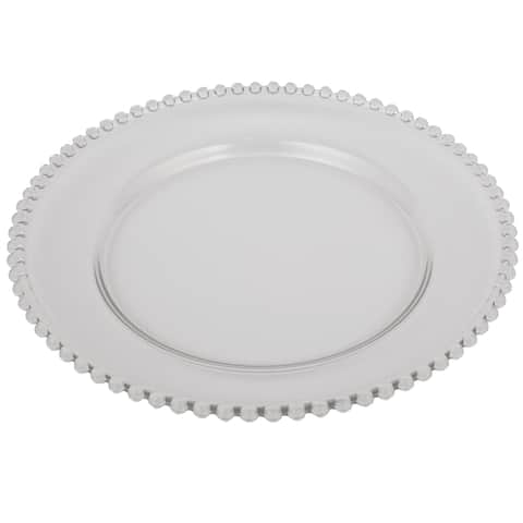 A&B Home 13-inch Beaded Rim Glass Charger