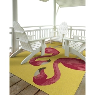 Indoor/ Outdoor Beachcomber Flamingo Yellow Rug (3' x 5')