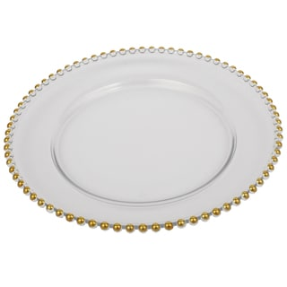 13-inch Glass Charger With Gold Beaded Rim