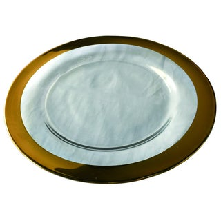 Glass 13-inch Charger With Gold Banded Rim
