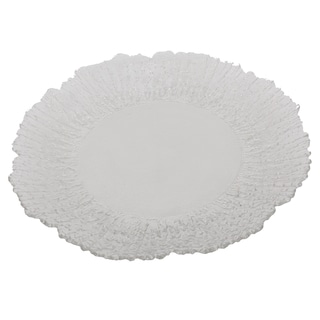 Clear Glass 13-inch Floral Band Candle Dish