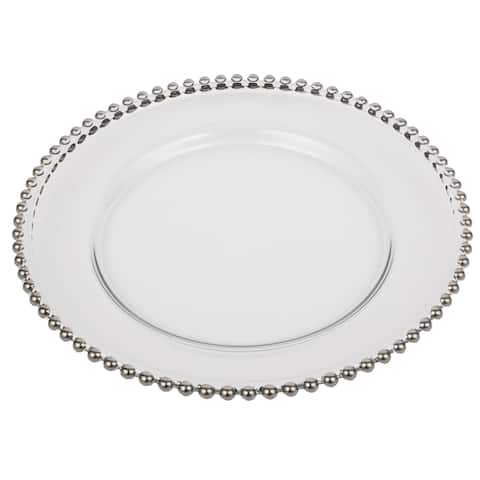A&B Home Silver Beaded Rim 13-inch Glass Charger