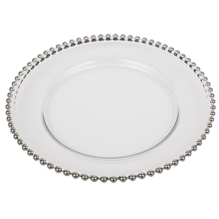 silver beaded rim 13inch glass charger