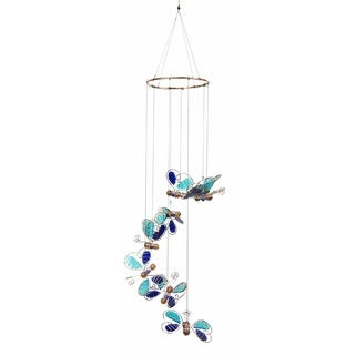 36-inch Blue Glass Butterflies Hanging Decor