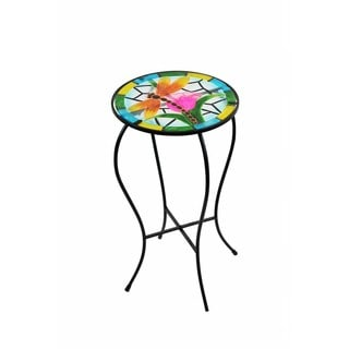 Glass/Metal 22-inch Dragonfly Glow-in-the-dark Plant Stand