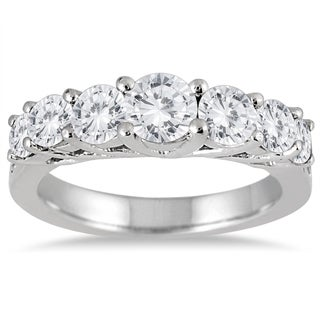 Marquee Jewels 10k White Gold 1 1/3ct TDW Diamond Seven Stone Ring