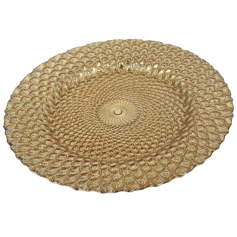 A&B Home 13-inch Textured Gold Glass Charger