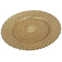 13-inch Textured Gold Glass Charger