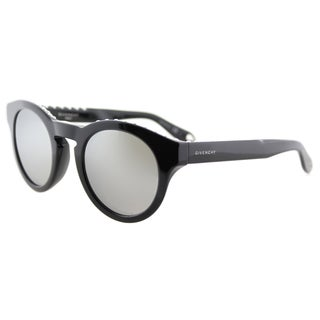Givenchy GV 7007 807 SS studded Black Plastic Round Silver Mirror Lens Sunglasses