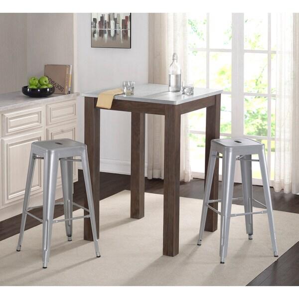 Carbon Loft Stanley Brown Zinc Wood Bar Table