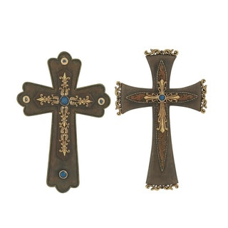 2 Gold & Brown Assorted Cross