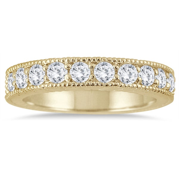 Marquee Jewels 10k Yellow Gold 3/4ct TDW Diamond Antiqued Engraved Band