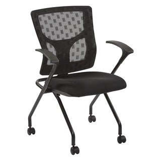 ProGrid Black Frame and Black Coal FreeFlex Fabric Checkered Mesh Back 2-pack Folding Chairs