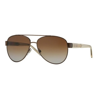 Burberry Women's BE3084 1212T5 Brown Metal Pilot Sunglasses