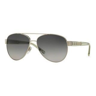 Burberry Women's BE3084 1166T3 Silver Metal Pilot Sunglasses