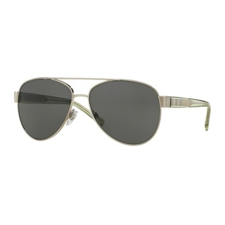 Burberry Women's BE3084 116687 Silver Metal Pilot Sunglasses