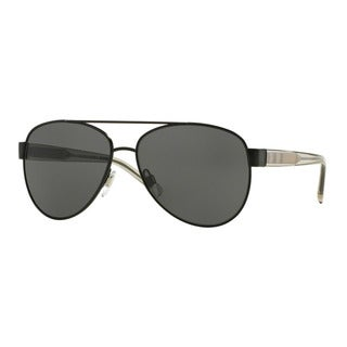 Burberry Women's BE3084 100787 Black Metal Pilot Sunglasses
