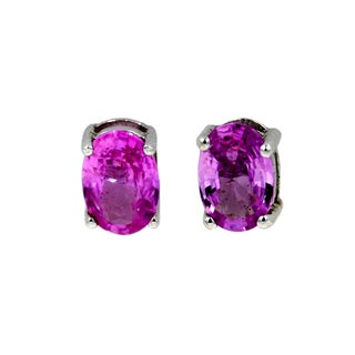 14k White Gold 1 1/4ct Pink Sapphire Fashion Stud Earrings