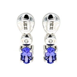 14k White Gold 1/10ct TDW Tanzanite and White Diamond Fashion Earrings (G-H, I1)