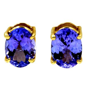 14k Yellow Gold 2 3/5ct TDW Tanzanite Fashion Stud Earrings