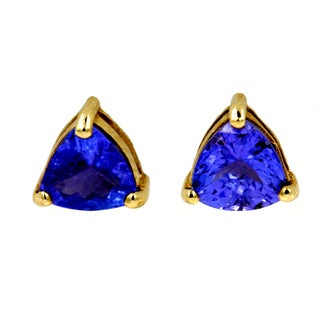 14k Yellow Gold 2ct Tanzanite Fashion Stud Earrings