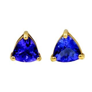 14k Yellow Gold 2ct TDW Tanzanite Fashion Stud Earrings