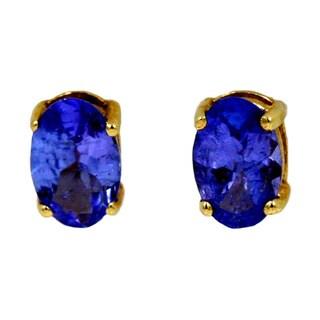 14k Yellow Gold 4/5ct TDW Tanzanite Fashion Stud Earrings