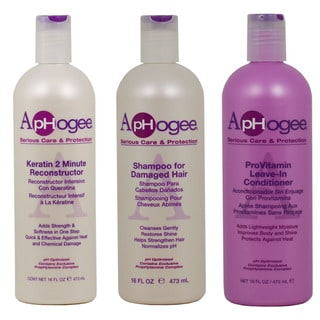 ApHogee Keratin 2 Minute Reconstructor, ProVitamin Leave-In Conditioner, and Shampoo for Damaged Hair 3-piece set