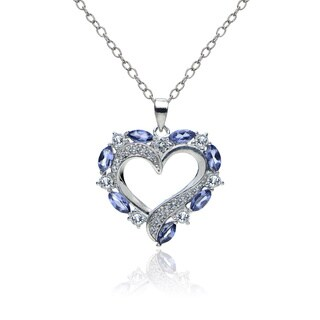 Glitzy Rocks Sterling Silver Tanzanite and White Topaz Heart Necklace