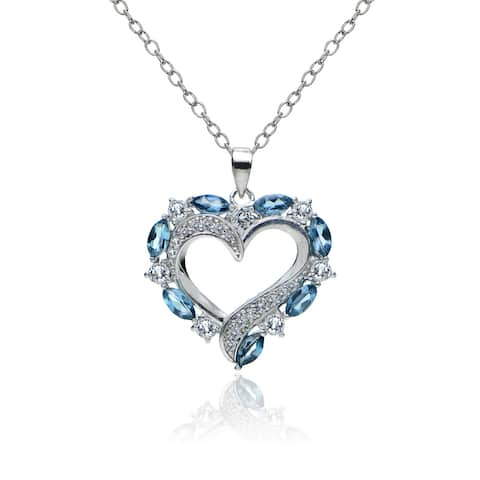 Glitzy Rocks Sterling Silver London Blue and White Topaz Heart Necklace