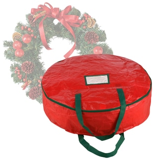 Elf Stor Premium Red Holiday Christmas Wreath Storage Bag For 24-inch Wreath