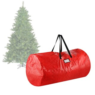 Elf Stor Deluxe Red Fabric/Plastic Holiday Christmas Tree Storage Bag for 9' Tree