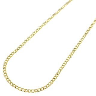 14k Yellow Gold 2 mm Hollow Cuban Curb Link Chain Necklace