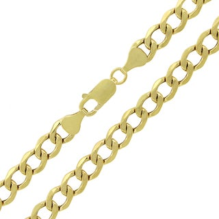 14k Yellow Gold 7 mm Hollow Cuban Curb Link Chain Necklace