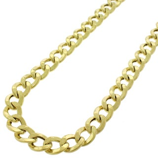 14k Gold 8.5mm Hollow Cuban Curb Link Chain Necklace