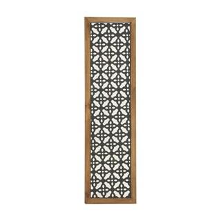 Benzara Multicolored Metal Wood Wall Panel