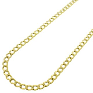 14k Yellow Gold 3.5 mm Hollow Cuban Curb Link Chain Necklace