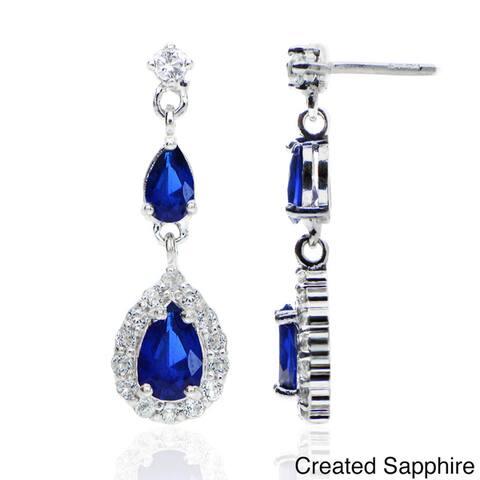 Glitzy Rock Sterling Silver Gemstone Teardrop Earrings