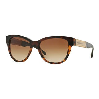 Burberry Women's BE4206F 355913 Havana Plastic Cat Eye Sunglasses
