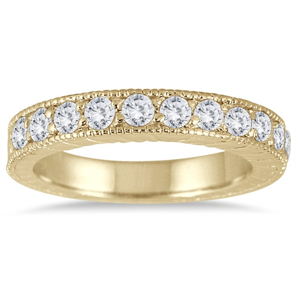 Marquee Jewels 10k Yellow Gold 1/2ct TDW Diamond Antique Engraved Band