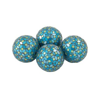 Attractive PVC Glass Turquoise Mosaic ORB Set of 4