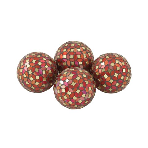 Silver Orchid Balfour Multicolored PVC and Glass Red Mosaic Orbs (Set of 4)