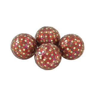 The Curated Nomad Amapola Multicolored PVC Glass Red Mosaic Orbs (Set of 4)