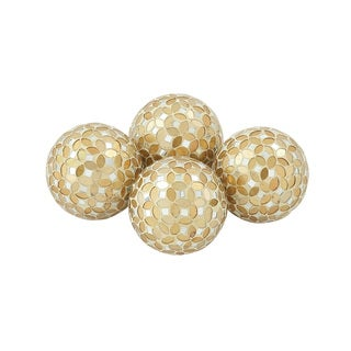 Set of 4 Fabulously Designed PVC Glass Gold Mosaic Orb