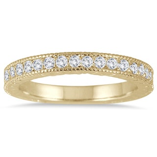 Marquee Jewels 10K Yellow Gold 1/3 Carat TW Engraved Antique Diamond Band (I-J, I2-I3)