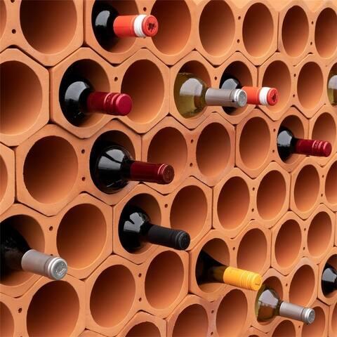 SomerTile 4.75x9.25-inch Botellera Terra Cotta Unglazed Stackable Wine Rack (24 wine racks)